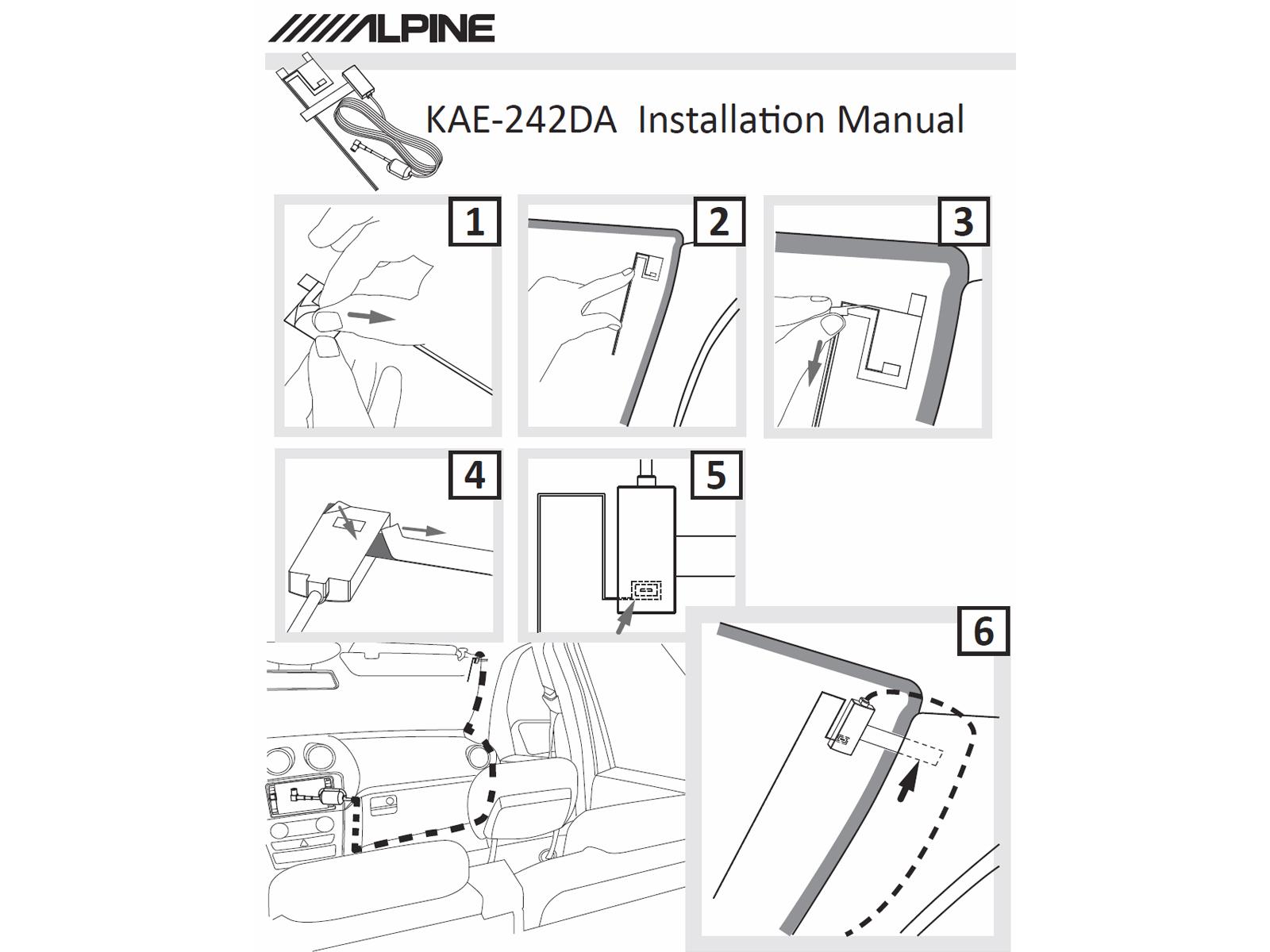 Alpine Electronics KAE-242DA Aktive DAB Scheibenantenne transparent schwarz